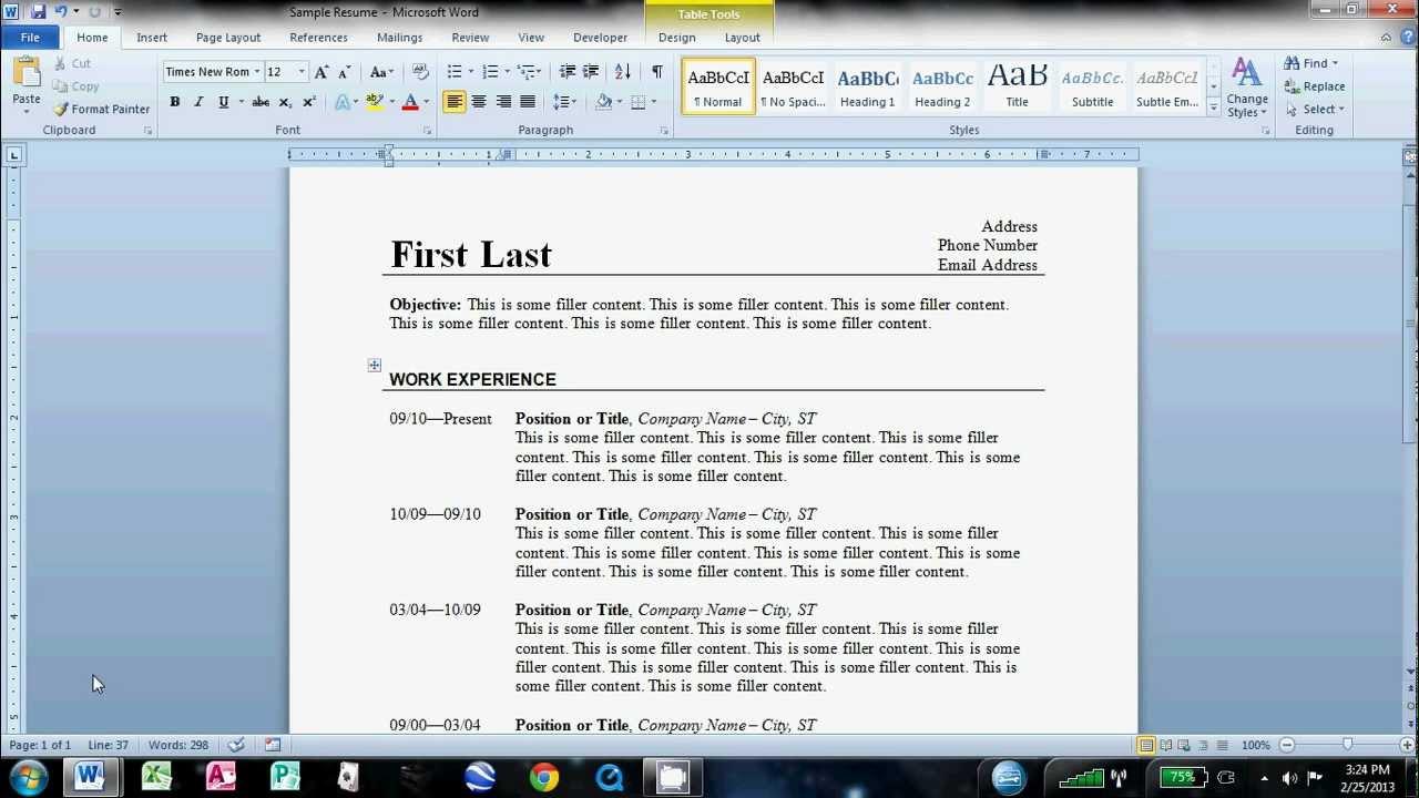 Resume In Microsoft Word
