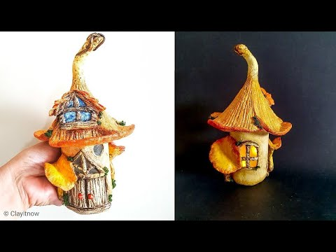 Chanterelle Mushroom Fairy House DIY Jar - Air Dry Clay Tutorial
