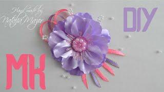 Брошь ИЗ ЛЕНТ КАНЗАШИ Цветы из лент Мастер класс Kanzashi flower tutorial