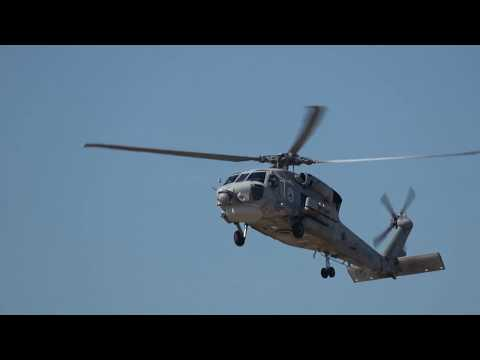 S-70B Seahawk helicopter from the Hellenic Navy in Athens Flying Week 2017 4K