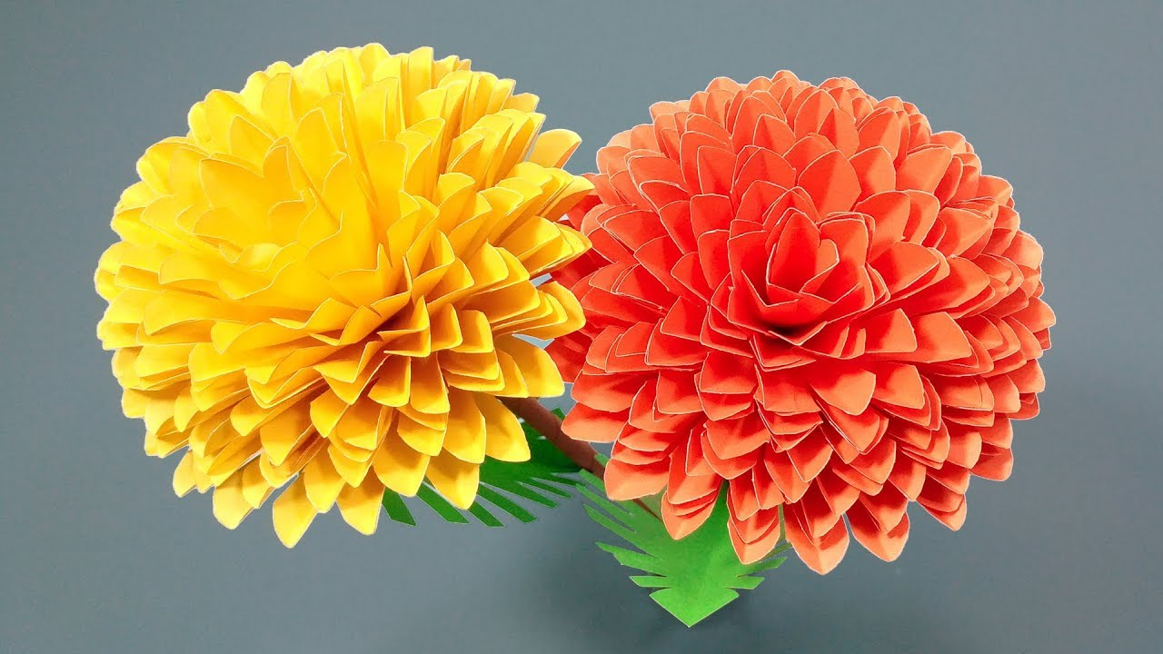 How To Make Marigold Flowers With Crepe Paper Easy Origami Flowers For Beginners Making
