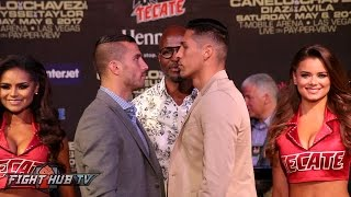 Lemieux and Reyes have HEATED stare down at the Canelo vs Chavez jr undercard final press conference