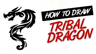 How to draw tribal dragon tattoo design #13