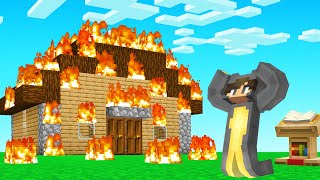 So He CHEATED And BURNED My Minecraft House... (troll)