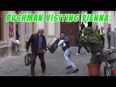 Funny Bushman Scare Prank In Vienna