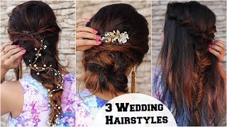 3 ELEGANT Wedding & Cocktail Party Hairstyles / Hairstyles For Indian Wedding Occasions Ft BBLUNT