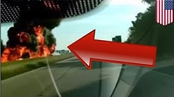 Truck accident caught on camera: Fuel tanker rear-ends dump truck, causes huge explosion - TomoNews