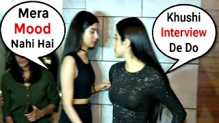Khushi Kapoor Throws Tantrum When Asked For Interview At Dhadak Success Party