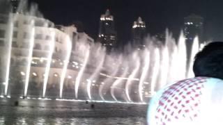 Dubai fountain show  from boat Burj Khalifa