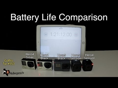 Gopro Hero Session Battery Life >> GoPro Battery Life Comparison: Hero5, Hero4, Session series - GoPro Tip #553 - YouTube