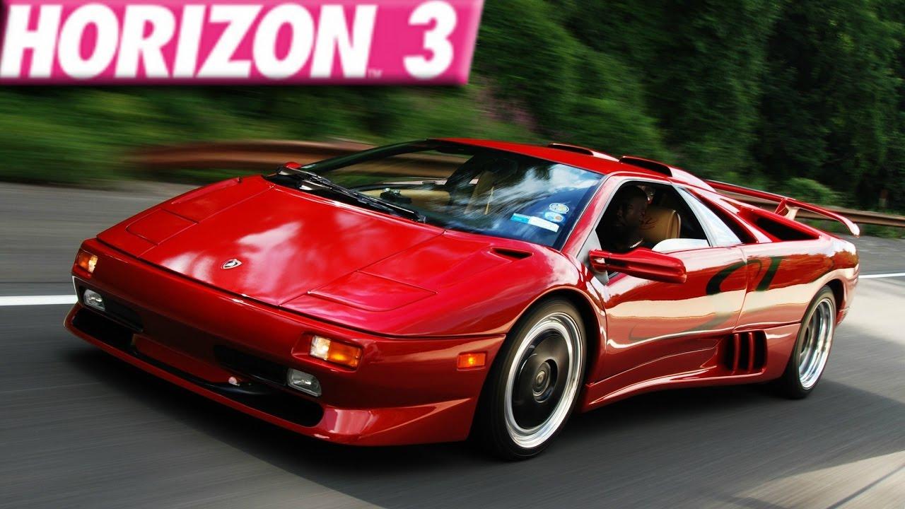 forza horizon 3 : 275+ mph lamborghini diablo sv build - youtube