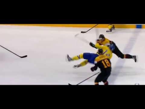 Stephan Daschne hit on Mattias Ekholm Germany vs Sweden IIHF Worlds 2015