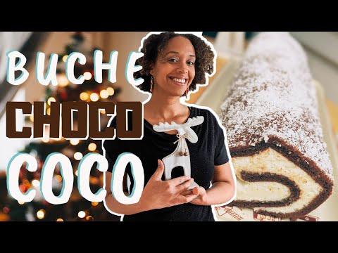 bûche-noël-chocolat-noix-de-coco-|-style-kinder-délice-en-mieux-|-comment-faire-une-génoise