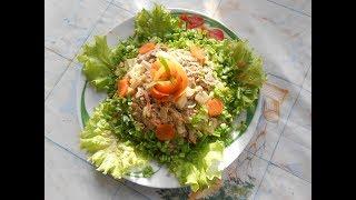 Сытный салат с куриной  печенью. Вкусно и просто.