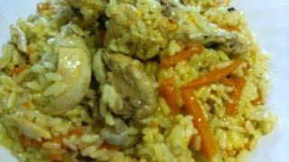 Плов с курицей.Видео рецепт.(500 гр курицы,500 гр.риса,500 гр.моркови,1 луковица,растительное масло,специи. Средняя порция на человека примерн..., 2012-11-20T17:16:43.000Z)