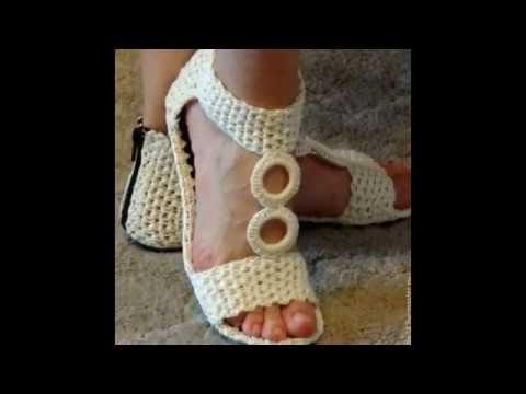 357e9965d Sandalias tejidas a crochet ganchillo - YouTube