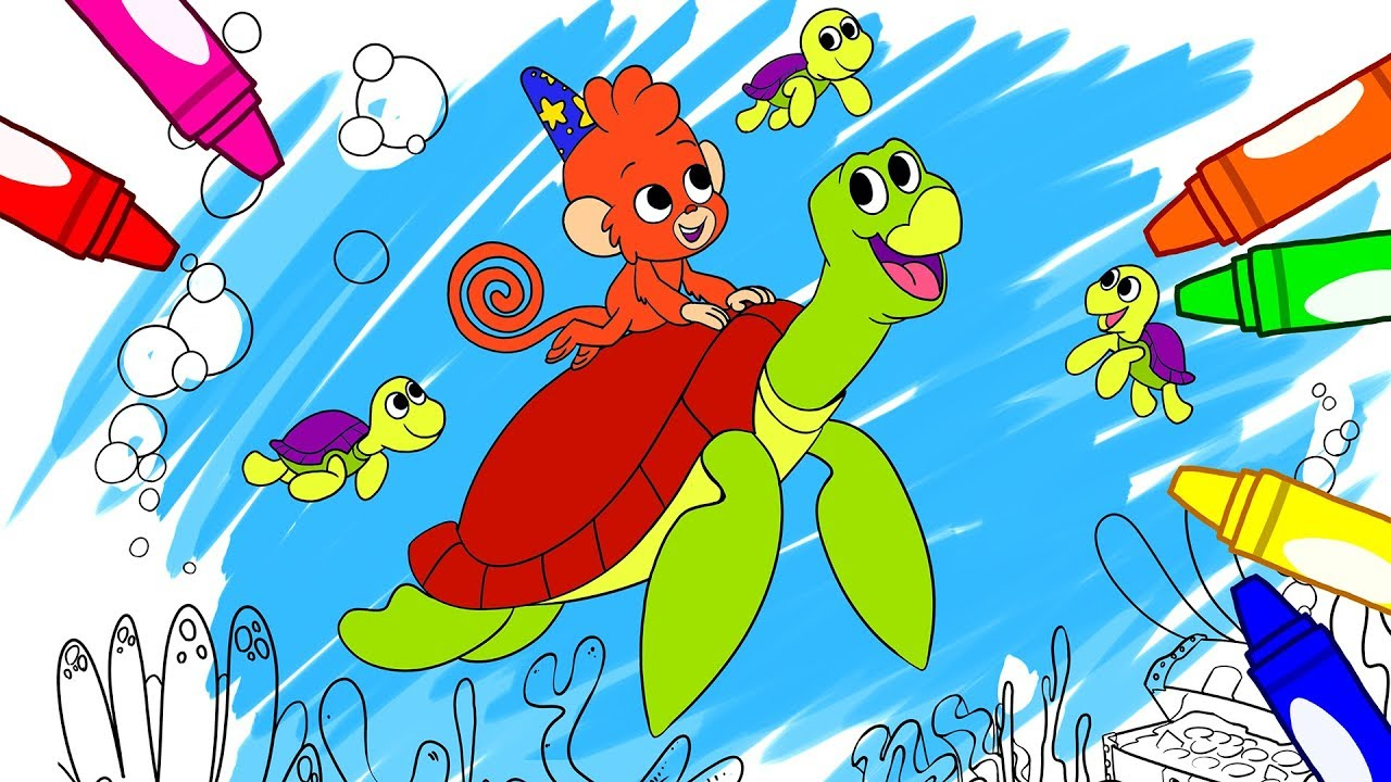 Sea Turtle Coloring Page | Sea Animal Drawing and Coloring Pages for kids | Club Baboo