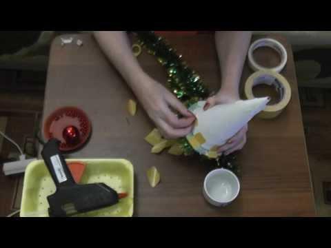 Видео Топиарий  Ёлка из цветных салфеток  Мастер класс