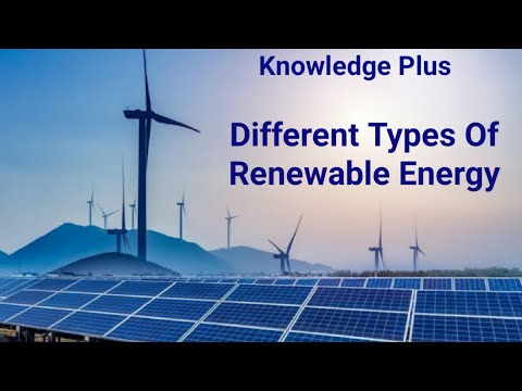 Different types of renewable energy Solar, Wind,  Hydroelectric,  Geothermal, Biomass, Tidal energy
