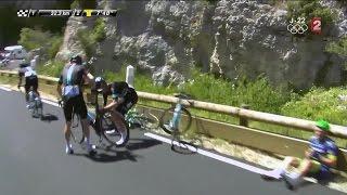 12e étape : Gerrans à terre provoque la chute de deux cyclistes Sky, le peloton temporise