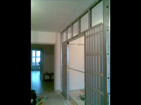 Portes coulissantes en galandage escamotables youtube for Porte coulissante scrigno 60