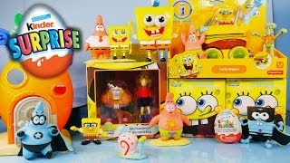 spongebob squarepants toys unboxing kinder surprise egg opening by disney cars toy club