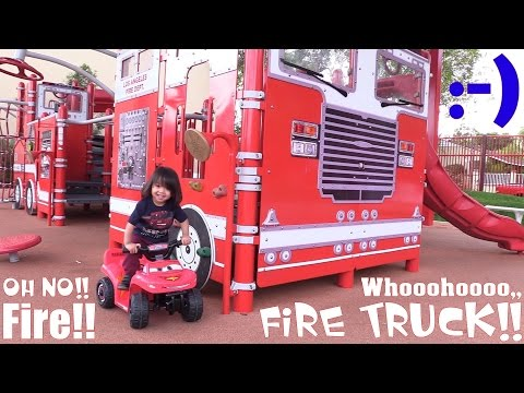 Disney Lightning McQueen Power Wheels Quad Bike, Fire Truck Toy and Fire Truck Playground