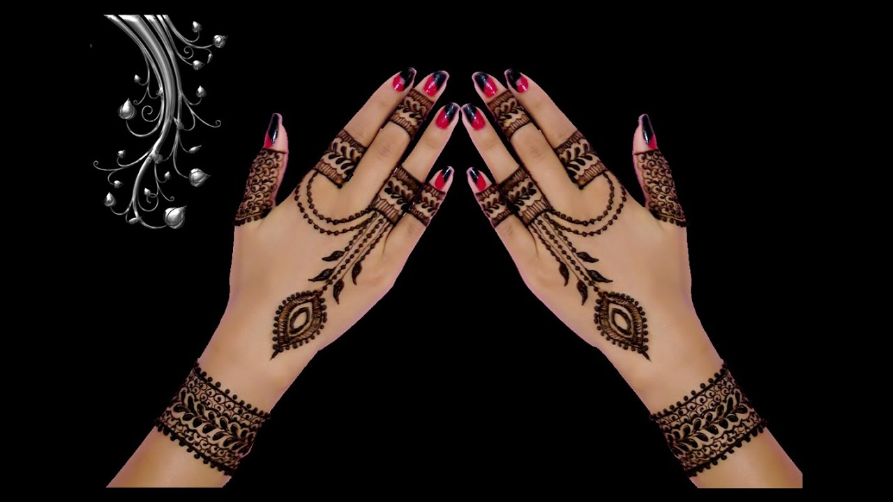 Cute Ornamental Jewellery Style Back Hand Henna / Mehndi Designs ( in  Hindi) by Jyoti Sachdeva .