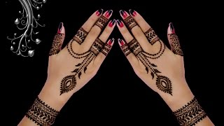 cute ornament jewellery style back hand henna mehndi design in hindi by jyoti sachdeva