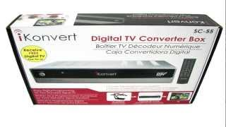 Watch Digital TV Offf The Air W/ The ikonvert SC-55 Digital Converter Box TV DTV OTA Signal Receiver