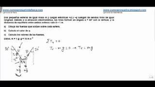 Fisica campo electrico valor de las cargas colgando de un hilo