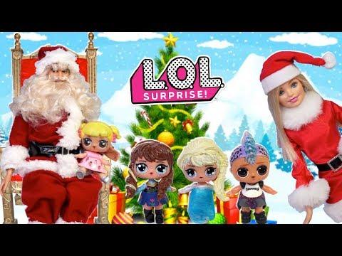 Lol Bebe Goldie Conoce a Santa Papa Noel con Familia Frozen y Barbie