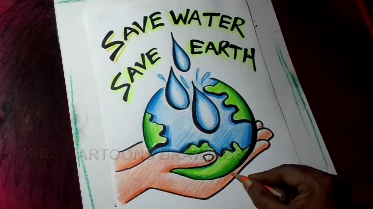 How to draw save water save earth poster drawing for kids
