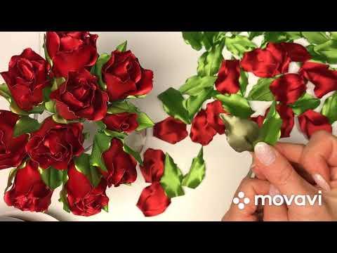 МК Легко и быстро. Розы из лент 🌹🌹.  Ribbon Flowers