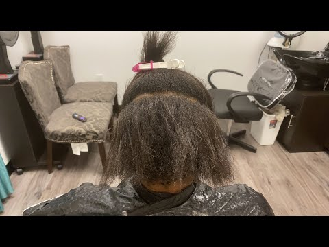How to fix damaged hair | self relaxing her hair