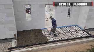 Монолитные элементы в доме из газобетона по проекту Саввино
