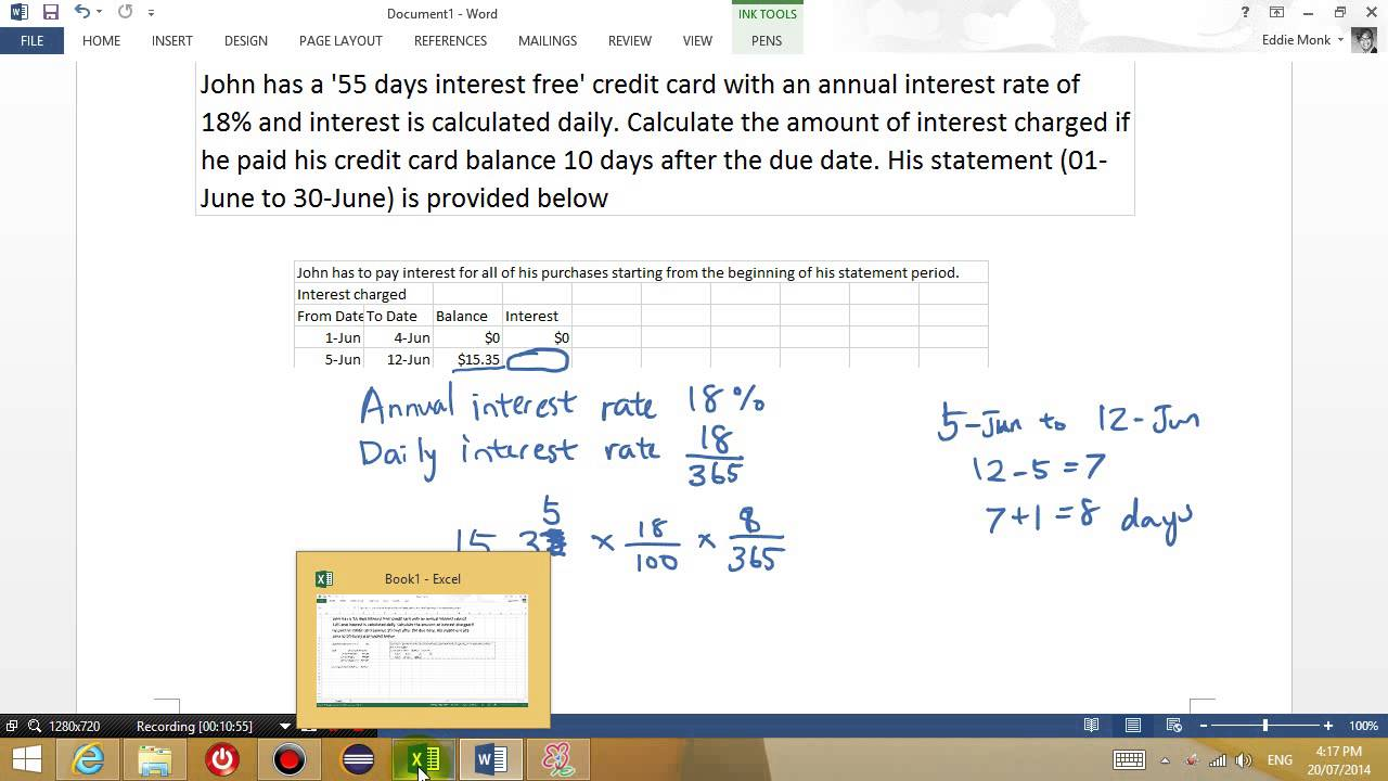 how are credit card payments calculated