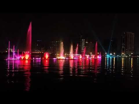 Color  Water Dancing Fountain Show Dubai Burj Khalifa