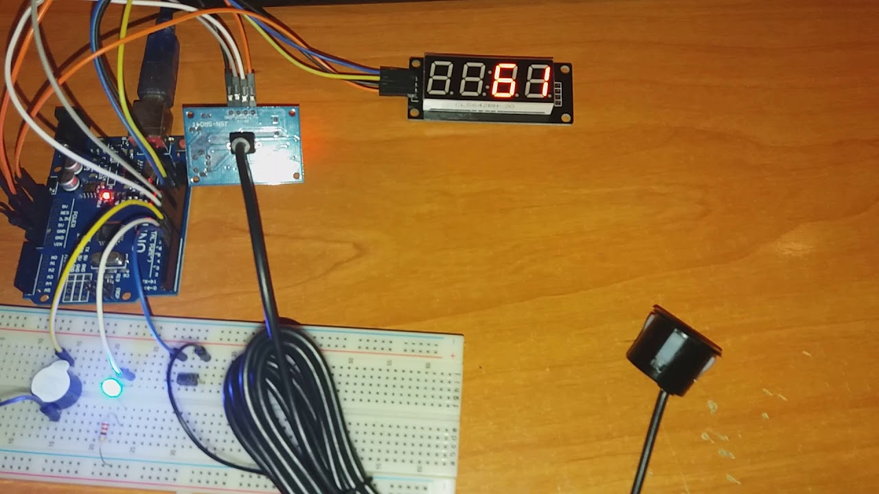 Sensor de parking con JSN-SR04T y display de 4 dígitos TM1637