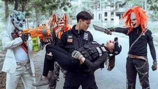 GUGU Nerf War : Couple SWAT CID Dragon Nerf Guns Fight Criminal Group SKMAN Mask Loser