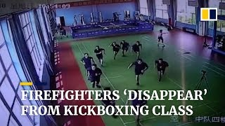 Firefighters in China 'disappear' from kickboxing class after fire alarm rings