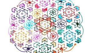 Video 199) - 27x14 dots Design flower Rangoli, muggu, kolam, telugu muggulu, sankranthi muggu download MP3, 3GP, MP4, WEBM, AVI, FLV April 2018