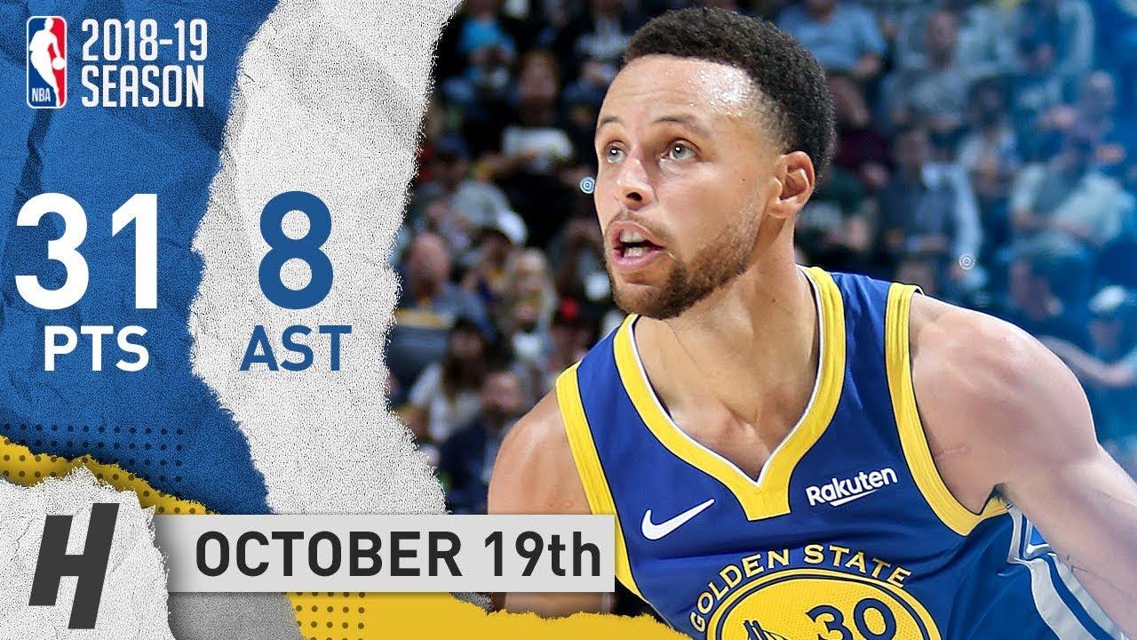 948a4d97782f Stephen Curry SICK Highlights Warriors vs Jazz 2018.10.19 - 31 Pts ...
