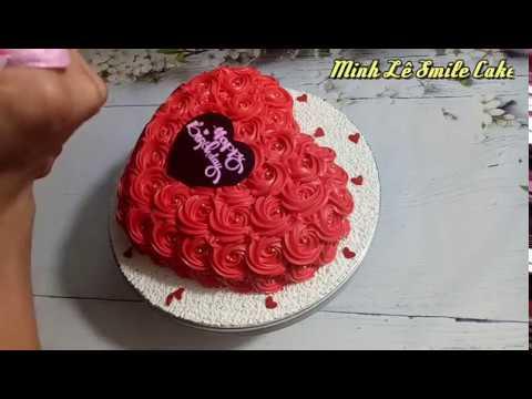 Bánh sinh nhật trái tim hoa hồng đỏ tặng người yêu