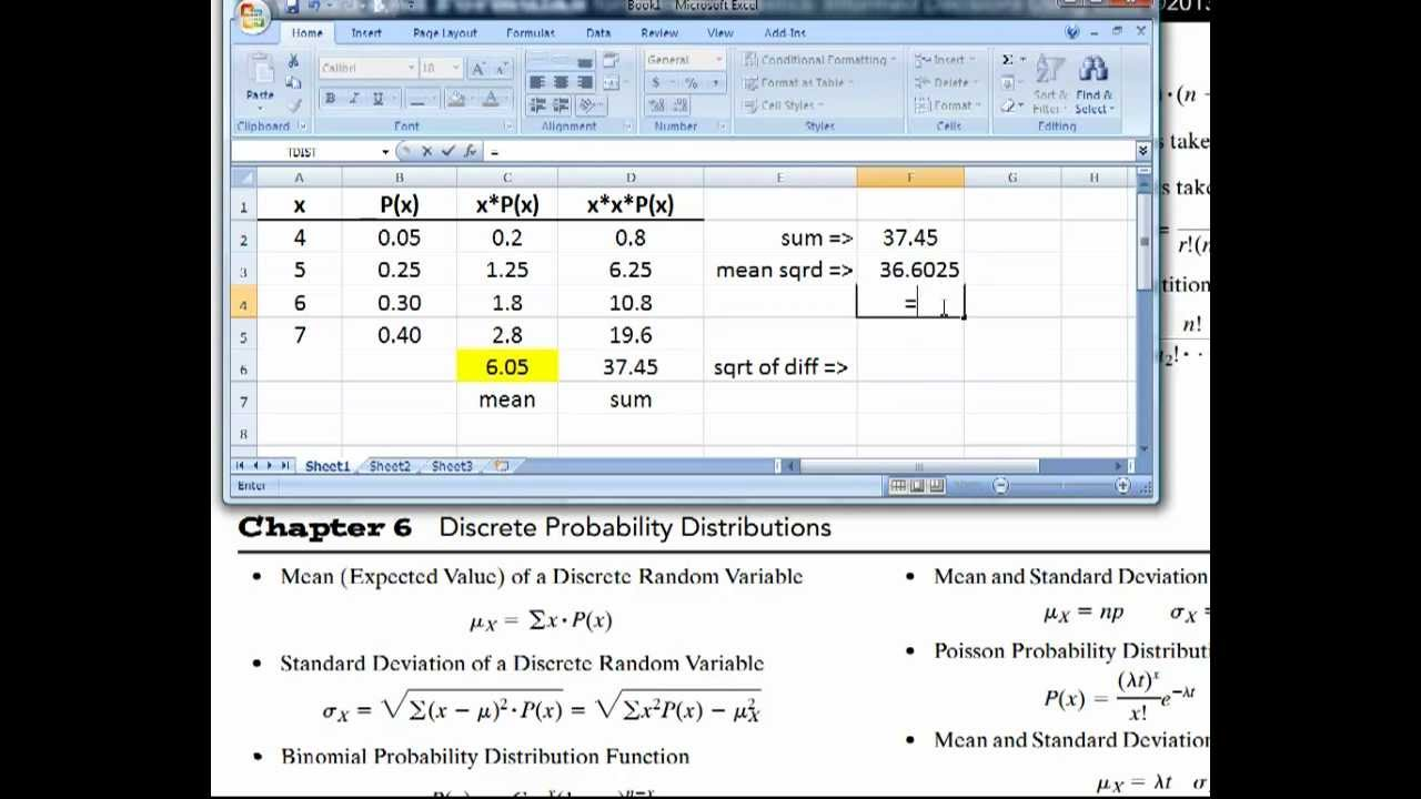 Stats: Find The Mean And Standard Deviation Of Discrete Random Variables  (using Excel)