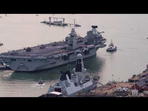 HMS Queen Elizabeth first entry into Portsmouth
