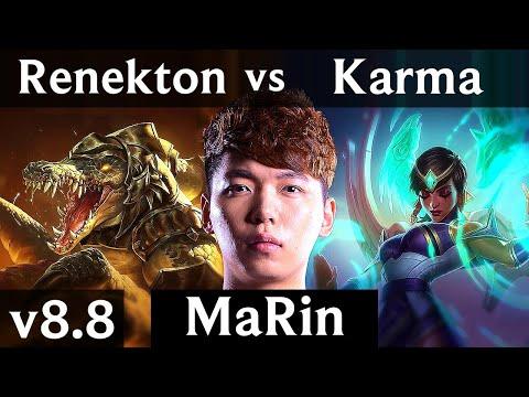 MaRin - RENEKTON vs KARMA (TOP) ~ Legendary, Perfect KDA 14/0/5 ~ Korea Master ~ Patch 8.8
