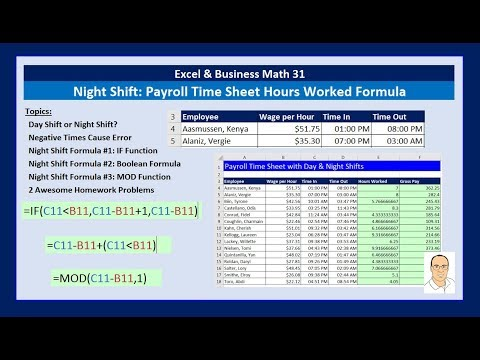 Excel & Business Math 31: Night Shift Hours Worked Formula for Payroll Time Sheet (3 Examples)