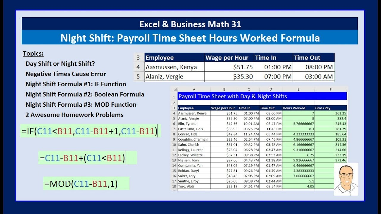 excel business math 31 night shift hours worked formula for