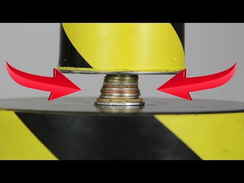 Experiment Hydraulic Press 100 ton VS Coins | The Crusher